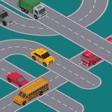 Miasto ruchu drogowego sztandar z autostrad drogami ilustracji