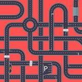 Miasto ruchu drogowego tło z autostrad drogami ilustracji