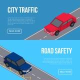 Miasto ruchu drogowego ulotki z samochodami w drodze ilustracji