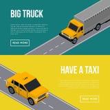 Miasto ruchu drogowego ulotki z samochodami w drodze ilustracja wektor