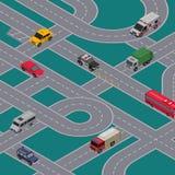 Miasto ruchu drogowego złącza sztandar z autostrad drogami royalty ilustracja