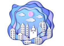 Miasto, słońce i chmury, ilustracji