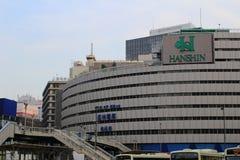Miasto scena z wiele wysokimi budynkami biurowymi przy Umeda Fotografia Stock