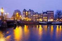 Miasto sceniczny od Amsterdam przy Amstel w holandiach Obrazy Stock