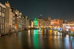 Miasto sceniczny od Amsterdam przy bożymi narodzeniami w holandiach Zdjęcie Stock