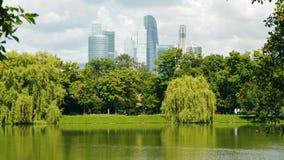 Miasto staw w tle miasto drapacze chmur i park zbiory wideo