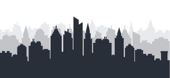 Miasto sylwetki ziemi głąbik Horyzontalny miasto krajobraz W centrum linia horyzontu z wysokimi drapaczami chmur przemysłowy pano royalty ilustracja