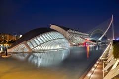 Miasto sztuki i nauki przy nocą, Walencja, Hiszpania Obraz Stock