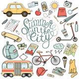 Miasto turystyczne konieczność: kolorowa ręka rysujący doodle wektoru set Obraz Royalty Free
