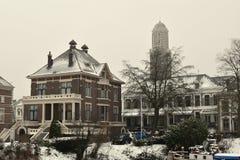 Miasto ulic Zwolle holandie amden teren blisko panoramy narciarstwa Switzerland zima obrazy royalty free