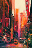 Miasto ulica z budynkami biurowymi, ilustracja Zdjęcia Royalty Free