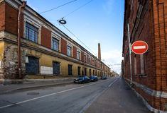 Miasto ulica z rozdrabniania budować Zdjęcia Royalty Free