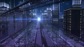 Miasto ulicy elektroniczna przyszłość ilustracji