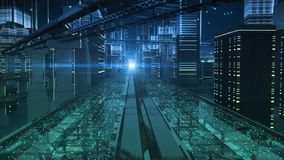 Miasto ulicy elektroniczna przyszłość ilustracja wektor