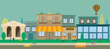 Miasto ulicy w płaskim projekcie ilustracja wektor