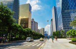 miasto uliczny drogowy Chiny, nowożytny miastowy w centrum uliczny widok obrazy royalty free