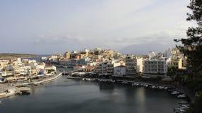 Miasto widok Agios Nikolaos w Crete wyspie Zdjęcie Royalty Free