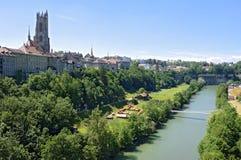Miasto widok górna i niska część Fribourg obrazy royalty free
