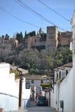 Miasto widok Granada z Alhambra, Andalusia, Hiszpania, biała wioska, osada blanco i hiszpańska architektura zdjęcie stock