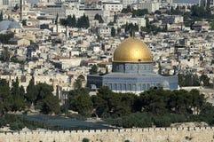 Miasto widok Jerozolima za ścianą, zamknięty widok kopuła skała, Izrael obraz royalty free