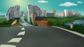 Miasto widok na słonecznym dniu ilustracji