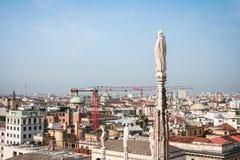 Miasto widok od Mediolańskiej katedry Zdjęcia Royalty Free
