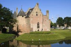 Miasto widok, Średniowieczny grodowy Radboud, Medemblik Zdjęcie Royalty Free