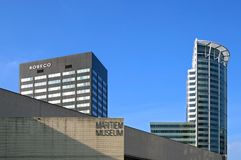 Miasto widok Rotterdam z muzeum i banka budynkami obraz royalty free