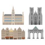 Miasto widoki Brukselski architektura punkt zwrotny Belgia kraju podróży płascy elementy Katedra St Michael i St Obraz Stock