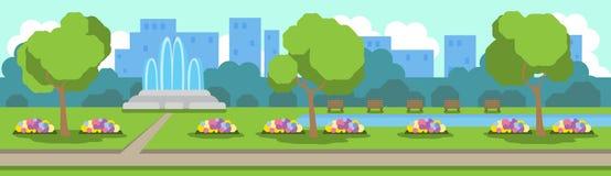Miasto widoku zieleni parkowy gazon kwitnie fontann drzew szablonu tła mieszkania sztandar ilustracji