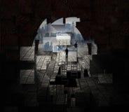 Miasto widzieć od tunelowego otwarcia royalty ilustracja