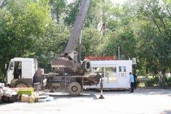Miasto Yasny, ROSJA, 11 16 2009 Transport handlowy pawilon editorial obrazy stock