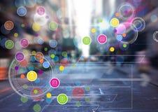Miasto z kolorową app ikon przemianą Zdjęcie Royalty Free