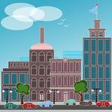 Miasto z samochodami ilustracji
