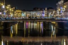 Miasto Zaświeca Amsterdam zdjęcia stock