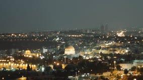 Miasto zaświeca nad Jerozolima, kopuła skała Al Aksa meczet i, czasu upływ zbiory