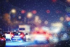 Miasto zaświeca noc Obrazy Royalty Free