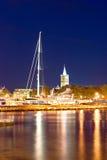 Miasto Zadar wieczór schronienia widok Fotografia Royalty Free