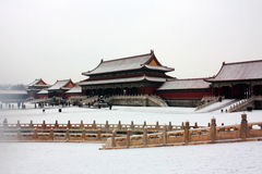 miasto zakrywał niedozwolonego śnieg Zdjęcia Stock