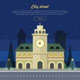 Miastowa miasto ilustracja przy Nighttime Budować ilustracja wektor