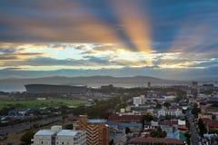 Miastowa miasto linia horyzontu, Kapsztad, Południowa Afryka. Zdjęcie Stock