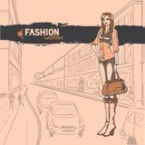 Miastowa moda. Miasto i ludzie royalty ilustracja
