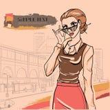 Miastowa moda. Miasto i ludzie ilustracja wektor