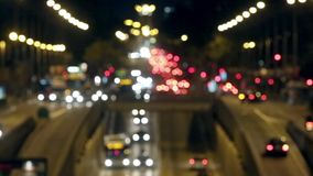 Miastowa scena zamazujący noc ruch drogowy w Barcelona 03 zdjęcie wideo