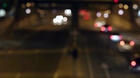 Miastowa scena zamazujący noc ruch drogowy w Barcelona Czasu upływ 07 zbiory