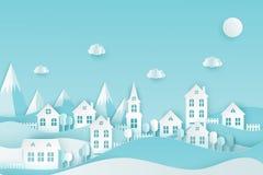 Miastowa wieś krajobrazu wioska z ślicznymi papierowymi domami, drzewo royalty ilustracja