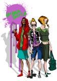 Miastowe łyżwiarki dziewczyny dziewczyny stoi wewnątrz przód graffiti bryzga royalty ilustracja