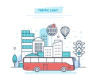 Miastowego krajobrazu, uliczny miasto, miasto transport, tradycyjny uliczny światła ruchu ilustracja wektor