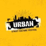 Miastowego Ulicznego kultura festiwalu Szorstki Ilustracyjny pojęcie Na Grunge ściany tle Z farby uderzeniem Zdjęcia Stock