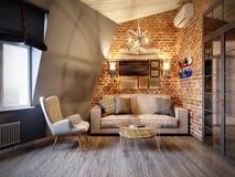 Miastowego Współczesnego Nowożytnego Skandynawskiego Loft Żywy pokój Zdjęcia Royalty Free